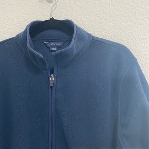 Lands' End Womens Navy Blue Fleece Zip Up Jacket w Pockets Size 14-16